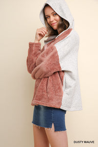 Fuzzy Knit Half Zip Pullover w Heathered Knit Back