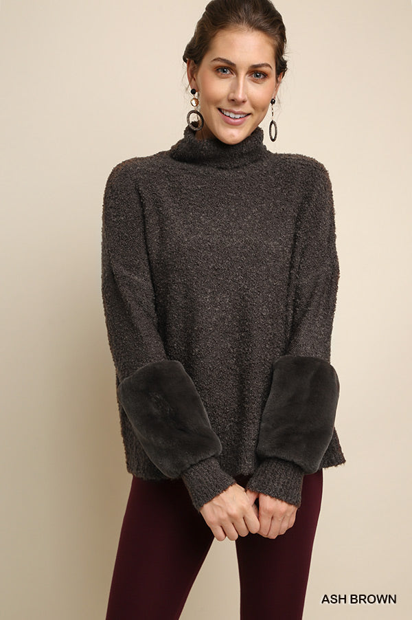 Faux Fur Sleeve Pullover