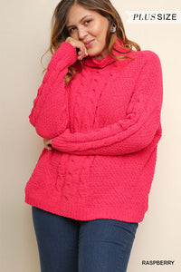Raspberry Cable Knit Pullover Plus