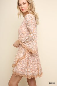 Blush Eyelash Hem Dress