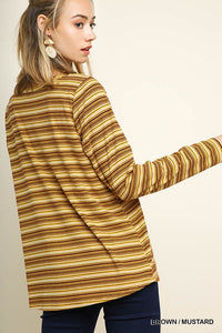 Brown Mustard Ribbed Sweater