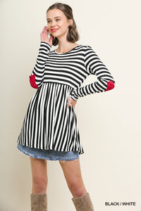 Babydoll Striped Heart Elbow