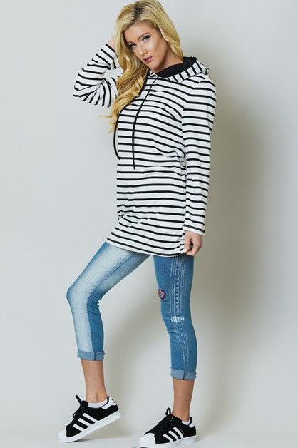 Striped Hooded Pocket Tunic Dress