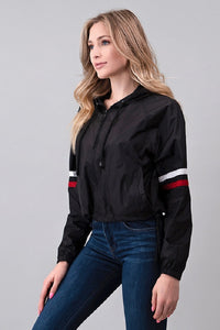 Black Striped Windbreaker