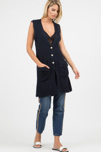 Button Down V Neck Vest