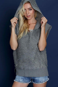Textured Sweater Vest Hooded Top