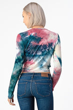 V Neck Tie Dye Crop Top