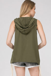 French Terry Olive Hoodie Tank