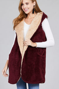 Burgundy/Khaki Vest w Pockets