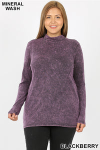 Blackberry Mineral Wash Mock Neck