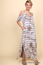Taupe Striped Tie Dye Dress with Pockets