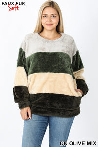 Pocket Stripe Mix Pullover
