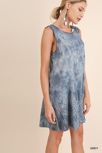 Tie Dye Eyelet Tunic Dress