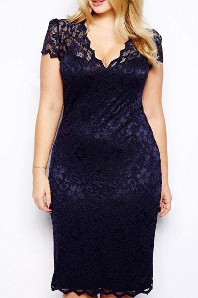 Navy Lace V Neck Plus Dress