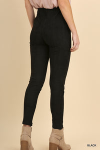 Suede Seam Detail Leggings with Ankle Zippers