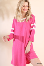 Athletic Stripe Fuchsia Dress