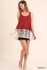 Wine Lace Bottom Sleeveless