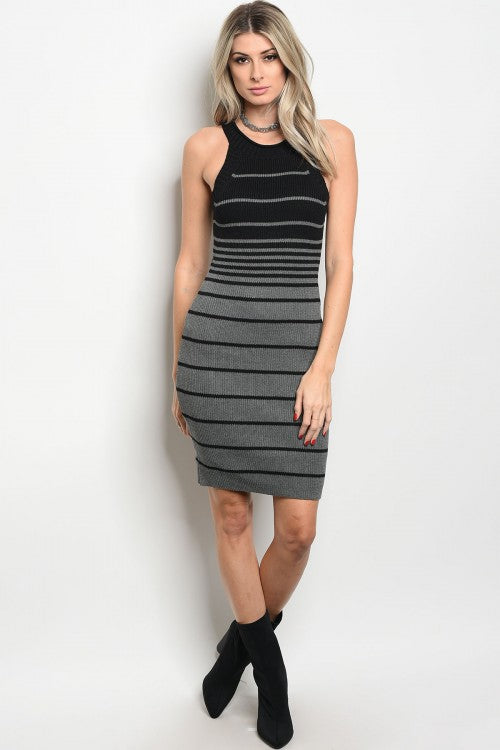 Charcoal Stripe Body Con Dress