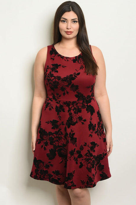 Black & Burgundy Floral Dress
