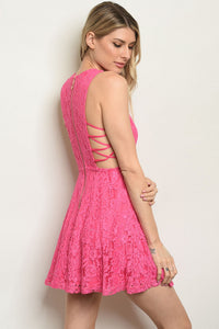 Hot Pink Side Strappy Dress