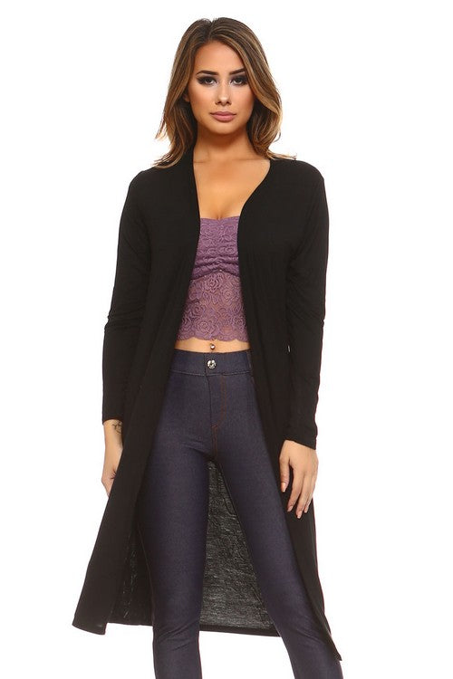 Classic Black Long Cardigan