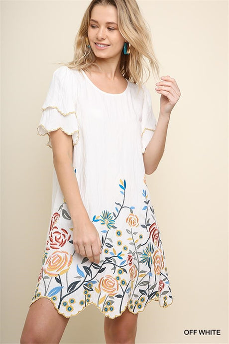 Floral Stitched Scalloped Trim Dress