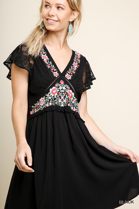 Floral Lace Back Babydoll Dress