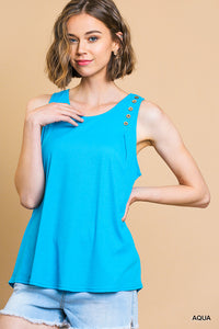 Aqua Ribbed Round Neck Shoulder Buttons