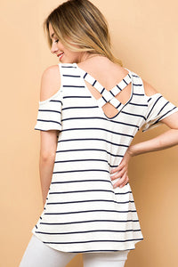 Back Criss Cross-Navy Stripe Plus