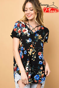 Floral Criss Cross V Neck-Plus