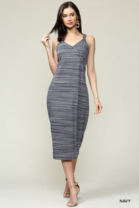 Asymmetric Button Detailed Midi Dress