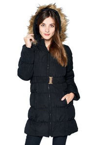 Fur Hooded Black Winter Coat