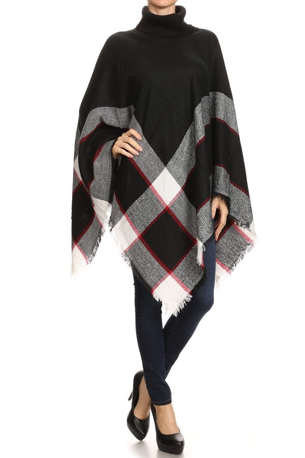 Black Plaid Poncho