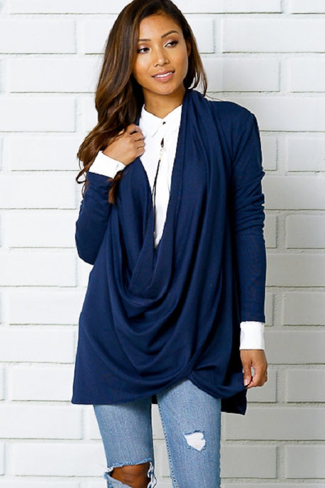 Navy Wrap Top