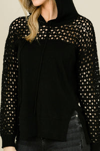 Mesh Black Hooded Sweater