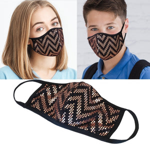 Rose Gold & Black Sequins Mask