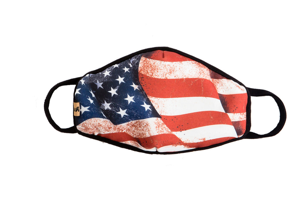 Layered Unisex Protective Mask- Flag or Camo