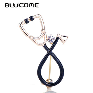 Stethoscope Shape Brooch Shiny Crystal Enamel Pins Accessories For Doctor Nurse Gifts