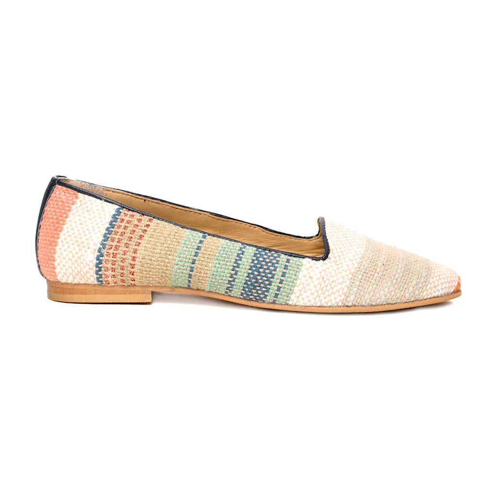 Multi-Coloured Beige Jacquard Loafer