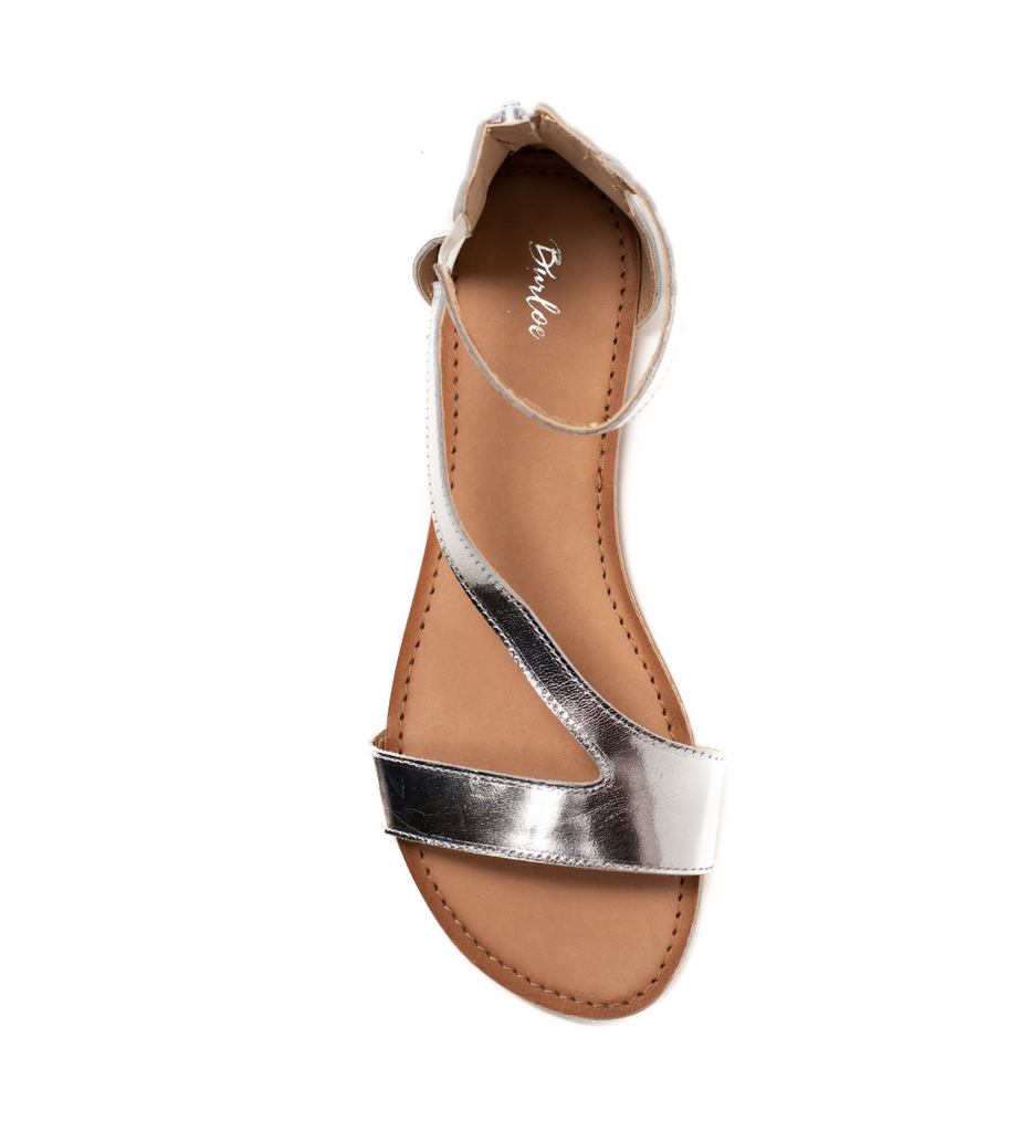 Silver And White Gladiator Flat