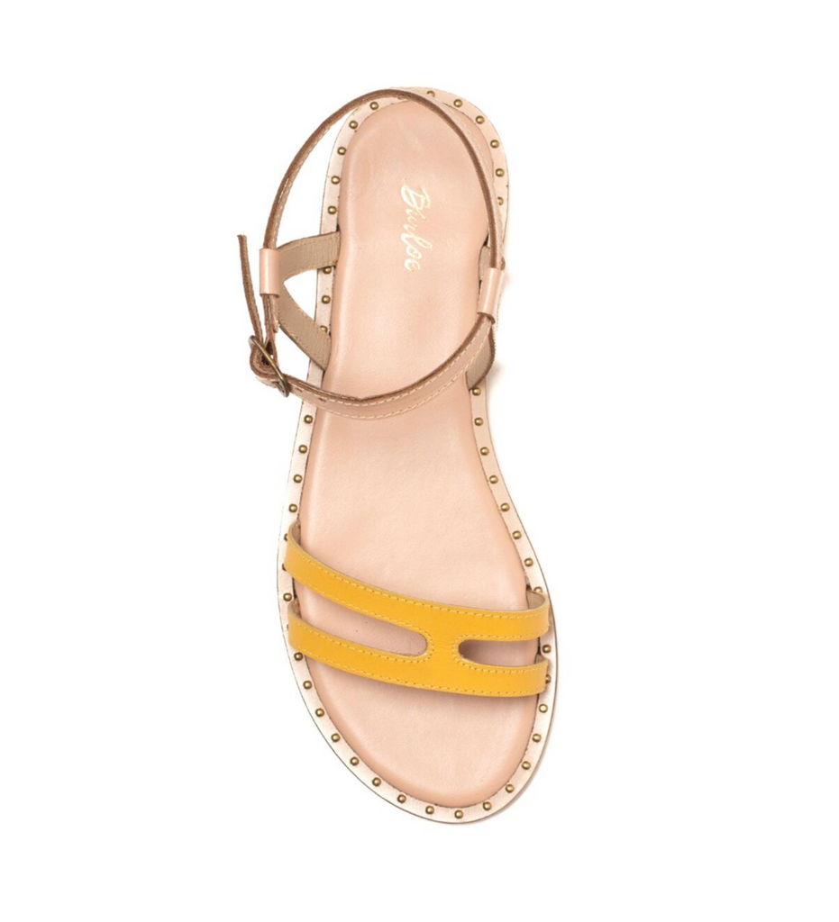 Nude and yellow two-tone leather flat
