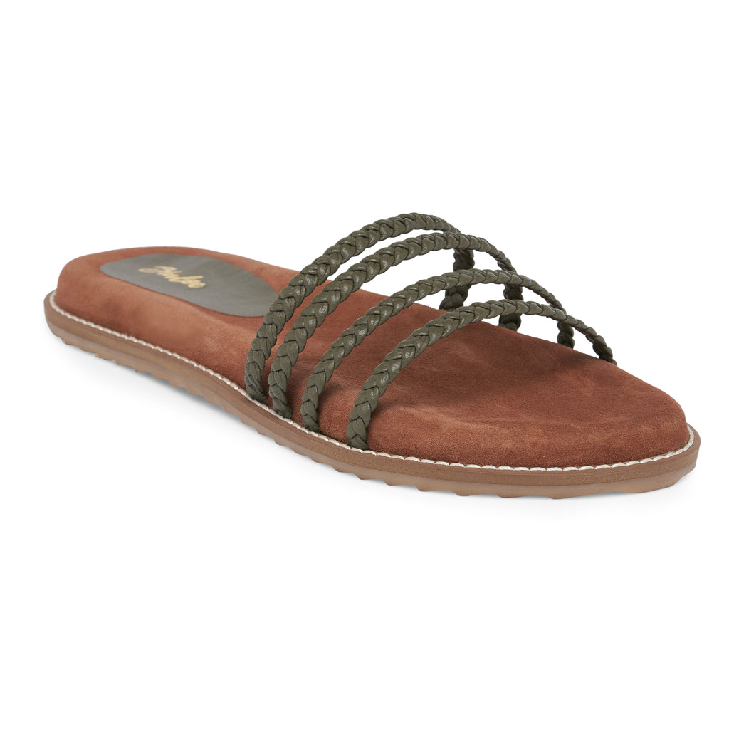 Olive Green Knotted Strap Footbed Flat