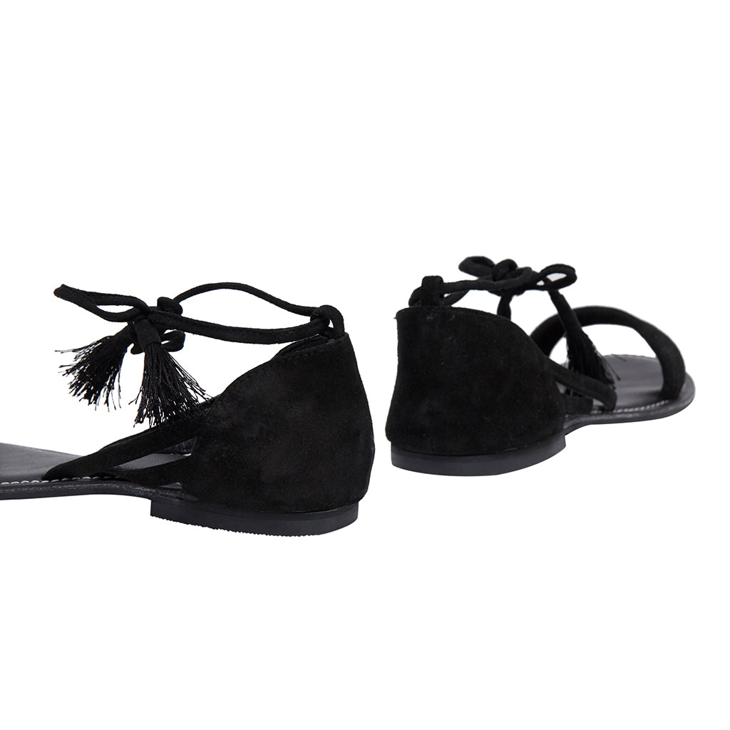 Sable Black Ankle Tie Strap Flat