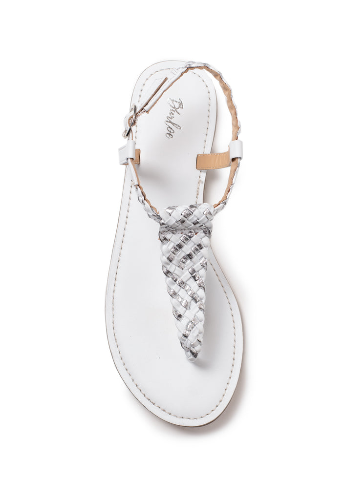 White And Silver Woven Flat
