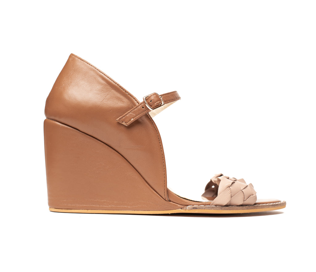 Tan & Beige Braided Wedge