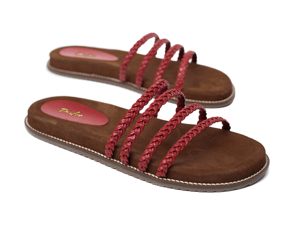 Marsala knotted strap Footbed Flat