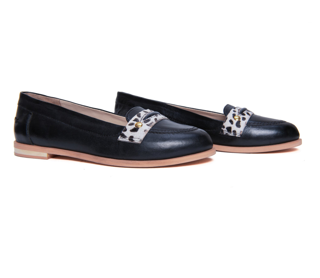 The Black Animal Print Detail Loafer - www.burloe.com