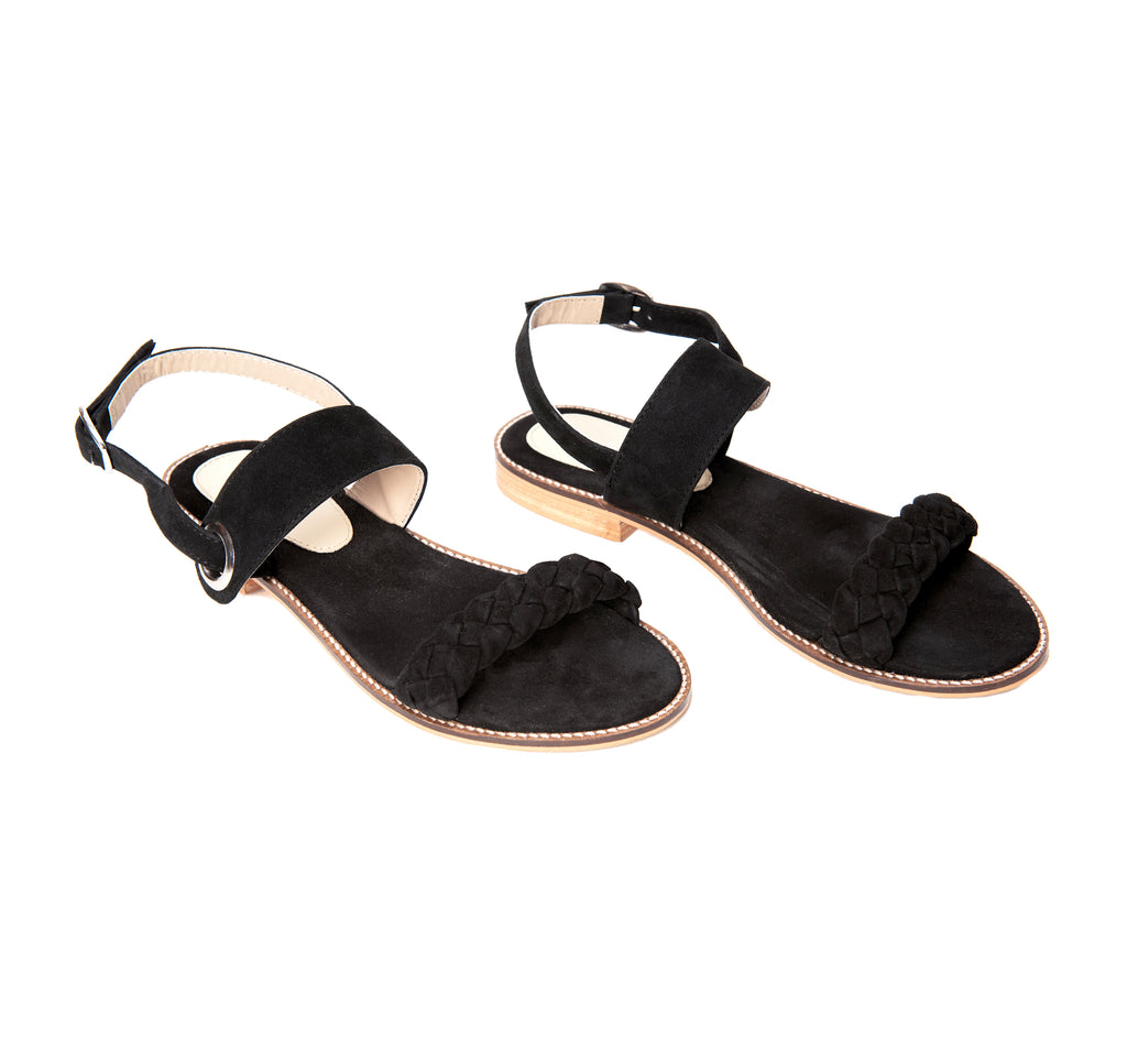 Sable Black Braided Flat - www.burloe.com