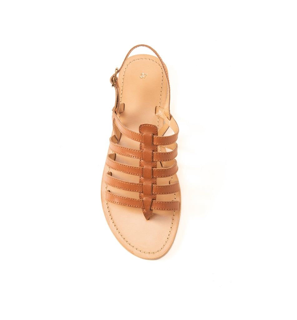 Clay Brown Gladiator Flat - www.burloe.com
