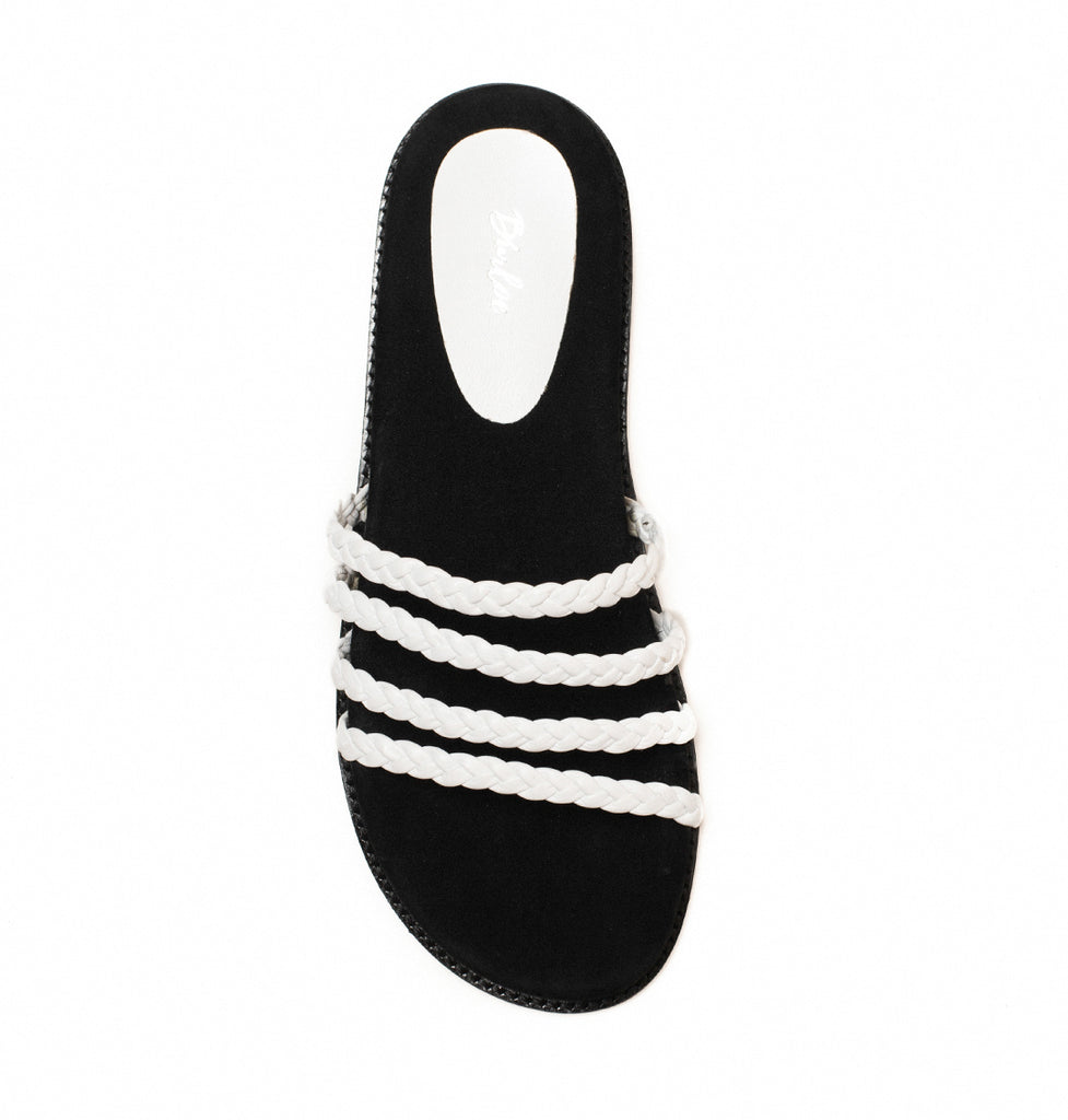 Lilia White Knotted Strap Footbed Flat